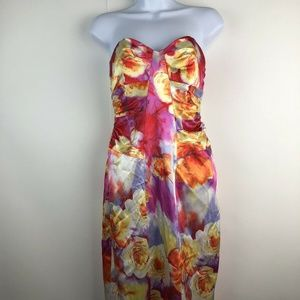 David Meister Strapless Floral Formal Sheath Dress